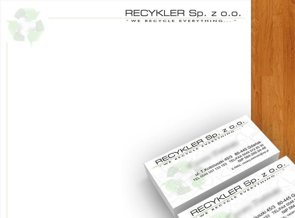 """Wizytówki oraz papier firmowy dla firmy """"Recykler""""."""
