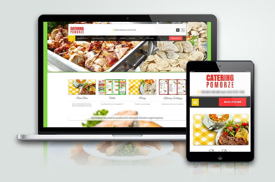 Strona internetowa CMS, z systemem zamawiania potraw. Baru, Restauracji