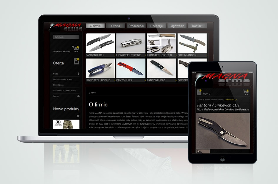 """Strona internetowa CMS (system zarządzania treścią) Sklep internetowy firmy """"Magna arma""""."""