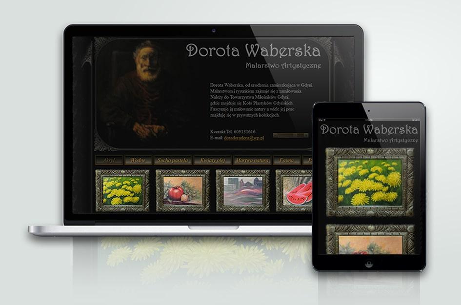 """Klasyczna strona internetowa Doroty Waberskiej. """"Malarstwo artystyczne""""."""