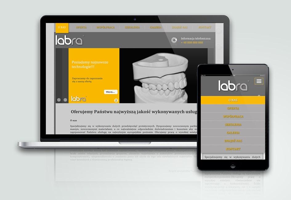 """Projekt strony internetowej pracowni protetycznej """"Labra"""". CMS (system zarządzania treścią)."""