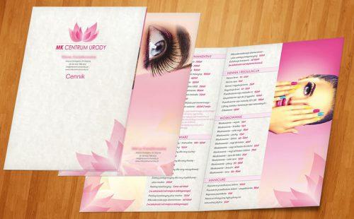 Cennik dla Salonu kosmetycznego MK Beauty Center.