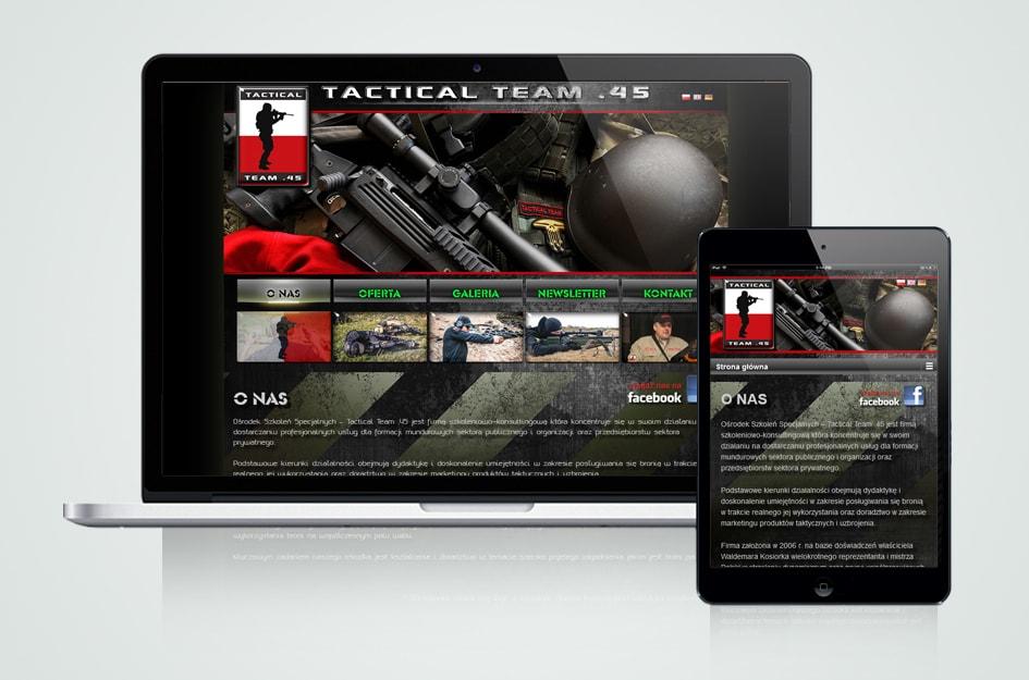 Strona internetowa CMS (system zarządzania treścią). Tactical Team .45 - Firma szkoleniowo-konsultingowa dla formacji mundurowych.