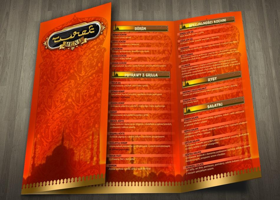 Projekt karty menu restauracji
