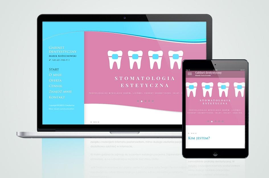 Klasyczna strona internetowa gabinetu dentystycznego Marka Kożuchowskiego w Gdyni.